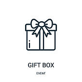 gift box icon vector from event collection. Thin line gift box outline icon vector illustration.