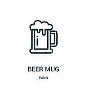 beer mug icon vector from event collection. Thin line beer mug outline icon vector illustration.