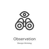 observation icon vector from design thinking collection. Thin line observation outline icon vector illustration. Outline, thin line observation icon for website design and mobile, app development.