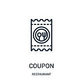 coupon icon vector from restaurant collection. Thin line coupon outline icon vector illustration.