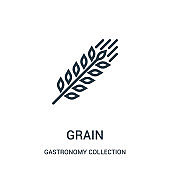 grain icon vector from gastronomy collection collection. Thin line grain outline icon vector illustration.