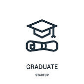graduate icon vector from startup collection. Thin line graduate outline icon vector illustration.