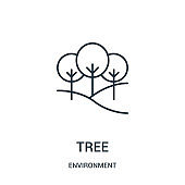 tree icon vector from environment collection. Thin line tree outline icon vector illustration.