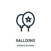 balloons icon vector from voting elections collection. Thin line balloons outline icon vector illustration.