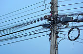 Messy electrical cables with blue sky background
