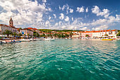 The Supetar harbor at sunny day on the Brac island, Croatia.