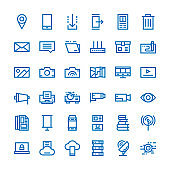 online and media thin line icon set