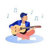 Man in Blazer Playing Guitar on White Background.