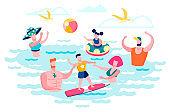 People Having Fun in Sea Water Flat Vector Concept