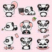 Set Kawaii Crazy Small Panda, Vector Illustration.