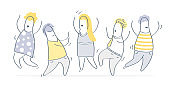 Group of happy cute dancing celebrating business people - Vector