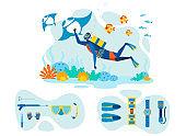Snorkeling Equipment Flat Vector Illustrations Set
