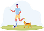 Cartoon Man with Prosthetic Leg Play Football Dog
