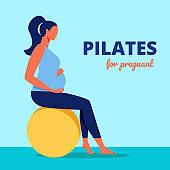 Pilates for Pregnant. Woman Sits on Gymnastic Ball