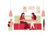 Cartoon Woman Sit Sofa Restaurant Table Drink Wine