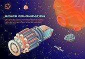 Banner Inscription Space Colonization Cartoon.