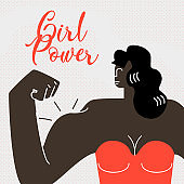Strong Dark Skin Woman Flat Vector Web Banner