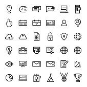 vector thin line business and commercial icon set
