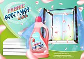 Pink Liquid Bottle on Open Window Background.