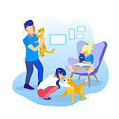 Children Playing with Pets Cartoon Illustration