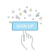 Subscribe icon. Sign Up, Login, Subscribe button with Human Hand and Confetti in flat design. The hand Pushes the Button, Successful Lead Conversion. Outline vector UI Element for Website Design, Banner.