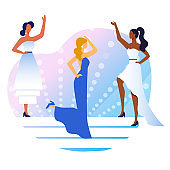 Evening Gowns Competition Flat Vector Illustration