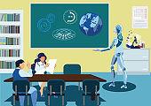 Robot Delivering Speech Flat Vector Illustration