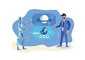Robot Helper, Scientist Flat Vector Illustration