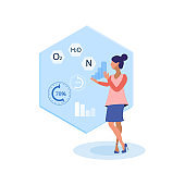 Scientist Analyzing Data Flat Vector Illustration