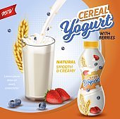 Poster is Written Cereal Yoghurt with Berries.