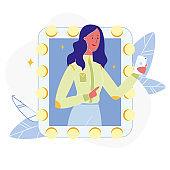 Woman Taking Photo in Mirror Flat Illustration