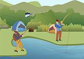 Fishing Summer Hobby Flat Vector Illustration