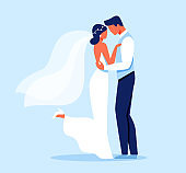 Bride and Groom Characters Hugging, Wedding Day