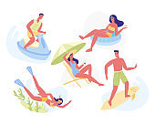Summertime Leisure and Holiday Activities Set