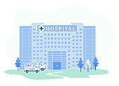 Hospital Building Facade with Emergency Ambulances