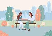 Cartoon Women Sit Bench at City Park Street Talk
