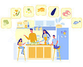 Happy Family Cook Healthy Nutrition, Parents Kids