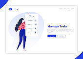Task and time manager, planning, to do list application landing page template