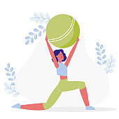 Flexibility Exercise, Workout Vector Illustration