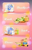 Baby Food Ad Set, Breakfast, Lunch, Snack, Dinner