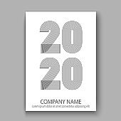 Cover Annual Report numbers 2020 in thin lines. Year 2020 text design in colour trend black on white abstract background. Vector illustration. Outline linear style