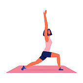 Woman Doing Yoga on Carpet on White Background.