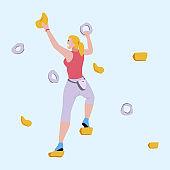 Woman Climbing on Rock-Climbing Wall Flat Cartoon