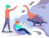 Man and Woman Enjoy VR Paleontology Simulation