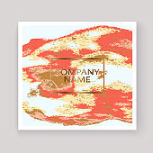 Coral gold marble luxurious texture paint artistic, wedding invitation design. Decorative pink golden splash fluid on white background, vector Illustration. Trendy template vector Cover Card Flyer Poster Banner