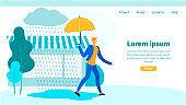Landing Page with Cartoon Man Walking under Rain