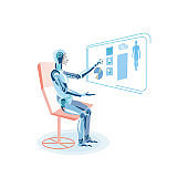 Robot Studying Human Anatomy Flat Illustration