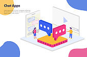 Chat apps isometric design Illustration Concept. Modern flat design concept for Landing page website, mobile apps ui ux, banner poster, flyer brochure, web print document ads. Vector EPS 10