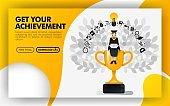 Vector illustration. Yellow website banner about get your achievement. bachelor sit on a trophy carrying a laptop and wearing toga. can use for online, print page, poster, mobile apps, UI. Flat style. Can use for, landing page, template, ui, web homepage