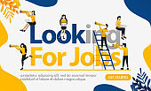 Looking for Jobs words with lots of people wearing binoculars to get a chance, concept vector ilustration. can use for landing page, template, ui, web, mobile app, poster, banner, flyer, background. Flat cartoon style for web ads, marketing, promotion